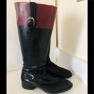 Aria Womens Leather black Boots Size 10